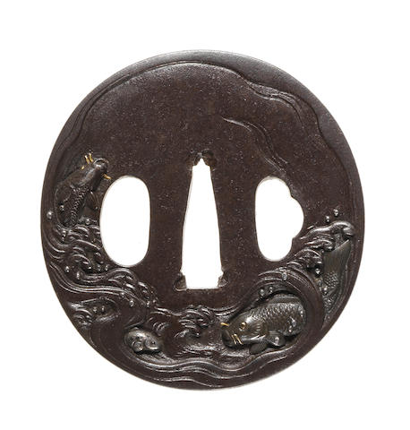 An iron tsuba Ichinomiya School, 18th century