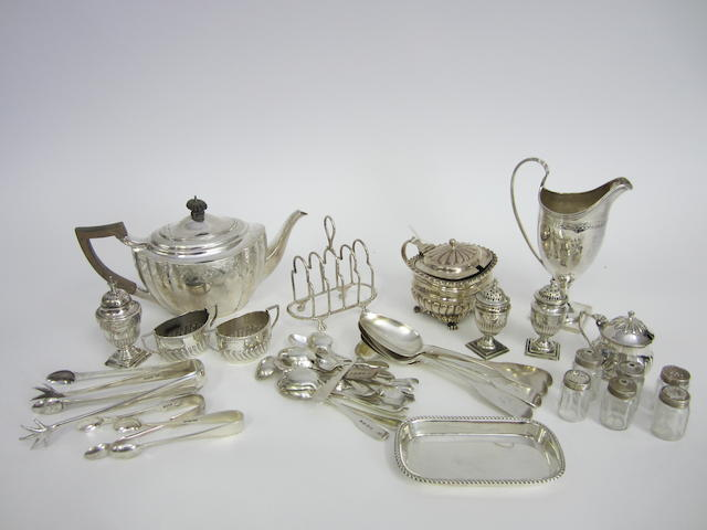A Victorian silver four division toast rack London 1894  (Qty)
