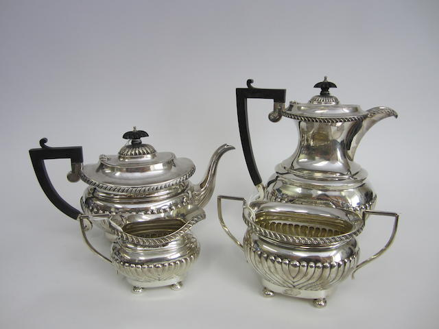 A silver four piece tea set by J. Gloster Ltd., Birmingham 1925-6  (4)