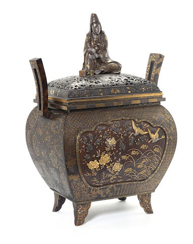 A fine mixed metal koro and cover with Sho-Kwannon finial Unsigned, Meiji Period, probably circa 1880