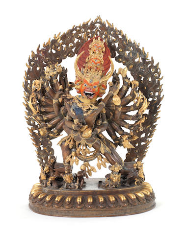 A large parcel gilt bronze figure of Vajrabhairava and Vajra Vetali 20th century