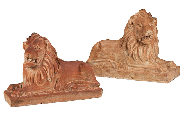 A pair of Victorian fire clay lionsAttributed to Garnkirk