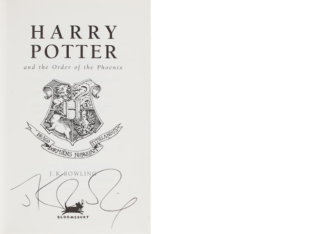 ROWLING (J.K.) Harry Potter and the Order of the Phoenix, SIGNED BY AUTHOR TO TITLE PAGE