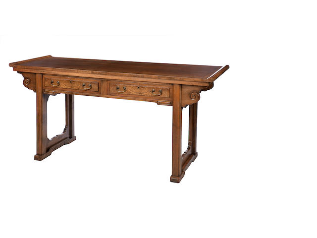 A solid walnut side table by Whytock & Reid of Edinburgh In the style of a Chinese alter table