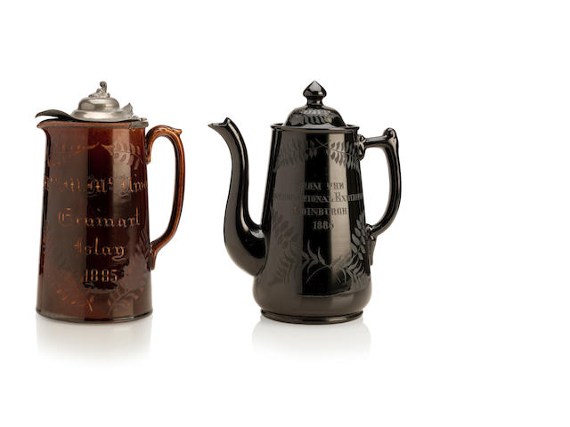 A rare engraved Alloa coffee pot and jug Attributed to Emanuel or Stephen Lerche