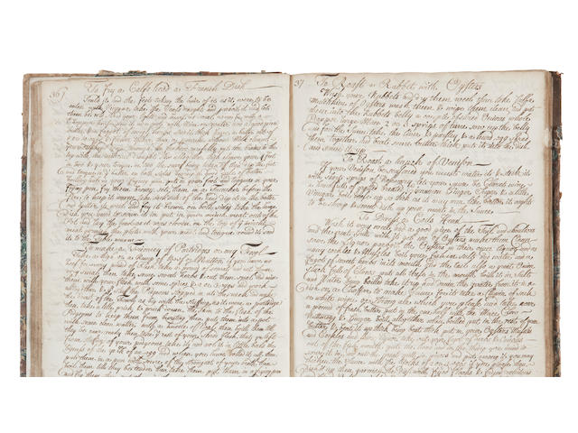 Manuscript Recipe Book, ink on paper, approximately 216 pages, book-plate Douglas of Cavers, 4to; another Manuscript Recipe Book, ink on paper, eighteenth century (2)
