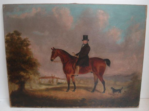 English School, 19th Century A Gentleman on Horseback Before a Country House 50 x 65cm.