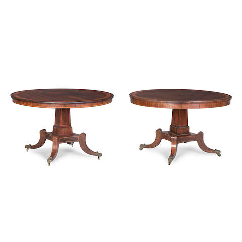A near pair of Regency rosewood and satinwood-banded centre tables First quarter 19th century