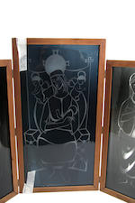 An etched glass triptych by W R Leadbetter and a woodblock print by the same artist