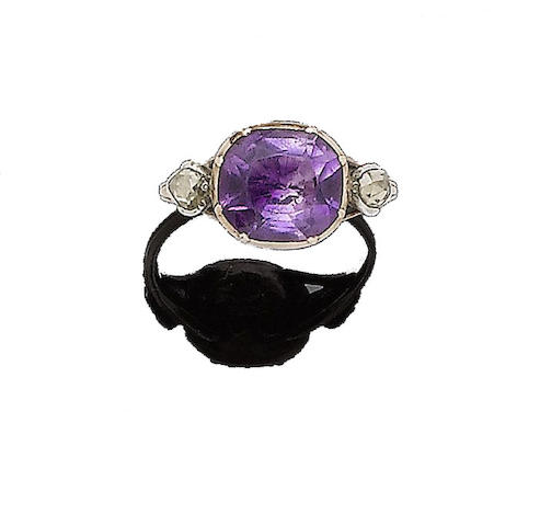 A mid 18th century amethyst and diamond ring