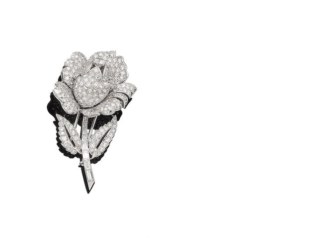 A diamond rose brooch