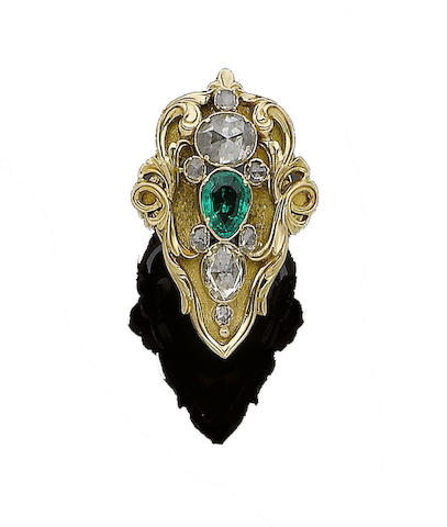 An art nouveau emerald and diamond dress ring,