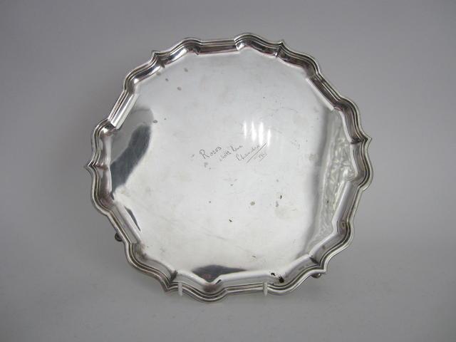 A silver salver Sheffield 1964