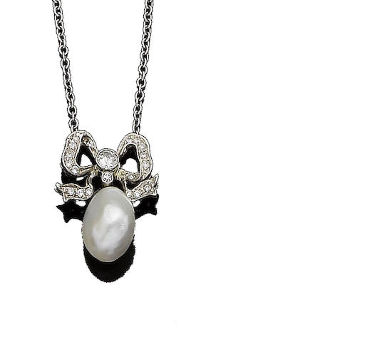 A natural pearl and diamond-set pendant necklace
