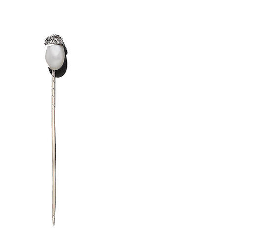 A natural pearl and diamond-set stickpin