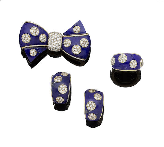 A lapis lazuli and diamond bow brooch, earring and ring suite, by Van Cleef & Arpels (3)