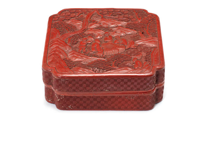 A cinnabar red lacquer box and cover Qing Dynasty
