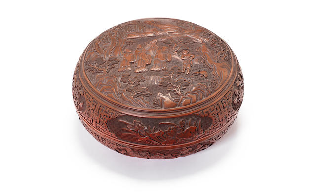 A red cinnabar lacquer box and cover 19th century