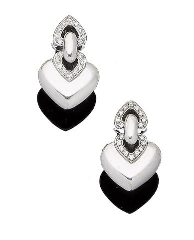 A pair of diamond-set earrings, by Bulgari