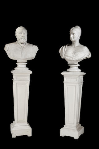 Edwin Roscoe Mullins, English (1849-1907): A pair of late 19th century sculpted white marble busts of John Henderson (1827-1893) and his second wife, Jessie
