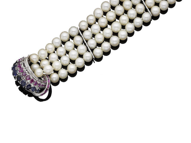 A cultured pearl, ruby, sapphire and diamond bracelet