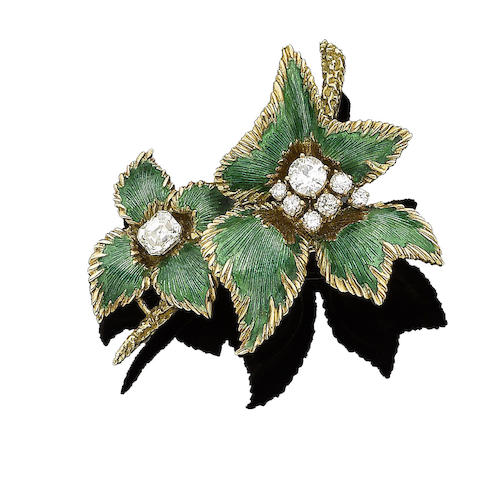 An enamel and diamond flower brooch,