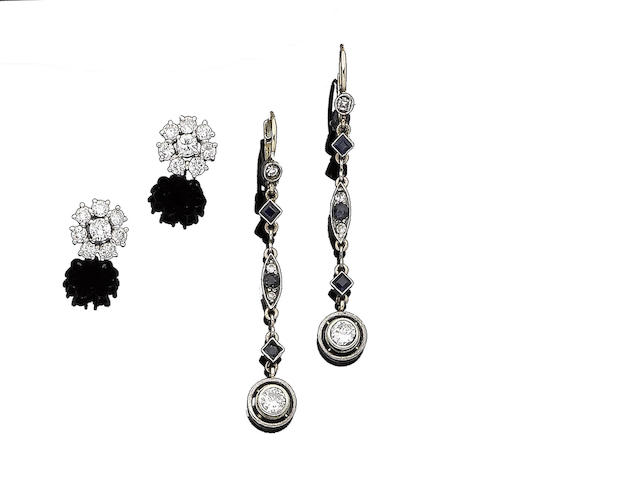 A pair of diamond cluster earrings and a pair of sapphire and diamond pendent earrings (2)