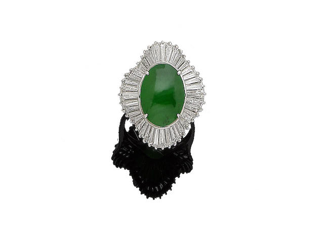 A jade and diamond cluster ring