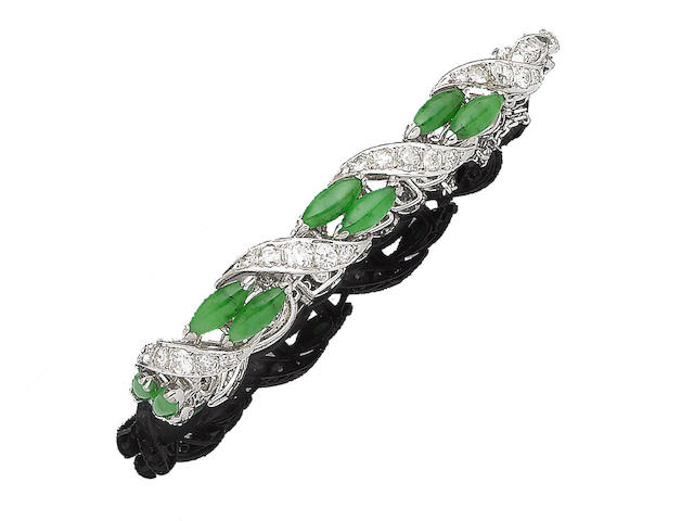 A jade and diamond panel bracelet