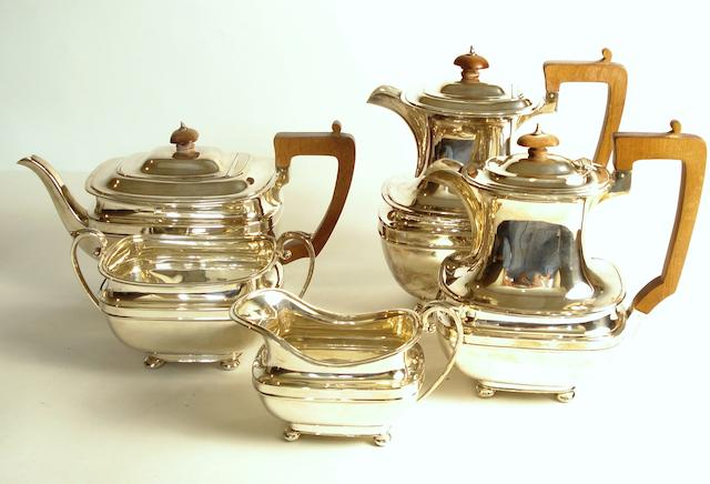 A five piece Scottish silver tea and coffee service by Hamilton & Inches, Edinburgh 1934/36