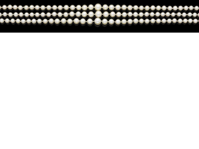 A three-strand cultured pearl necklace with diamond-set clasp