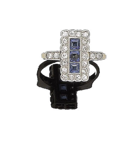 A sapphire and diamond dress ring