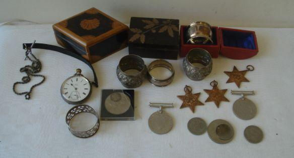 A group of Second World War medals, South Africa Star, Defence medal, Burma Star, 1939-45 medal, 39-45 Star, cased silver napkin ring, coins, costume and dress jewellery, etc.