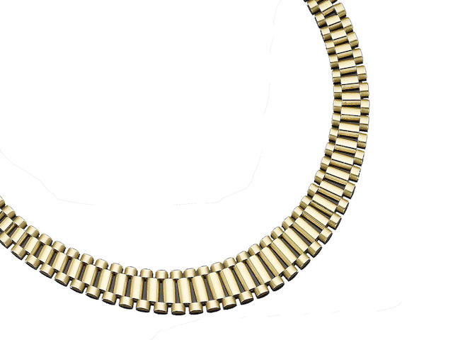 A gold collar necklace and bracelet suite, (2) (partially illustrated)