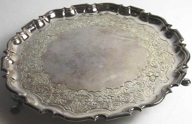 An 18th century silver salver  by James Glen, Glasgow, four marks; IG twice, S, fish, tree and bell, circa 1743-52