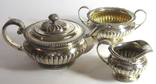 A George III three piece silver tea service by George McHattie, Edinburgh 1816/18