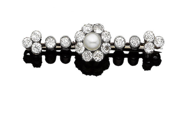 A natural pearl and diamond bar brooch,