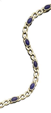 A lapis-lazuli fancy-link necklace