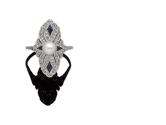 An art deco pearl, synthetic sapphire and diamond ring,