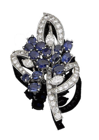 A sapphire and diamond brooch, by Cartier