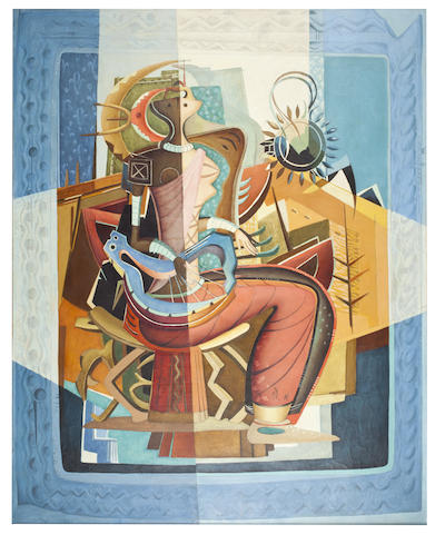 Alexis Preller (South African, 1911-1975) 'Woman with a Lyre'