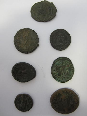 Celtic & Roman, Includes Armorican stater. Obv head r. rev horse r, boar below. Carausius antoninianus. Rev Pax. Also Postumus and a Constantine I follis of London.