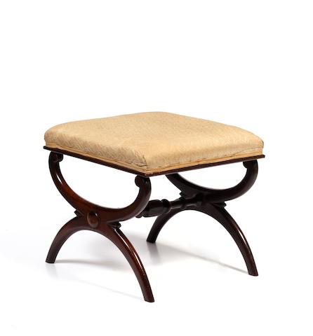 A late Victorian mahogany x-frame stool