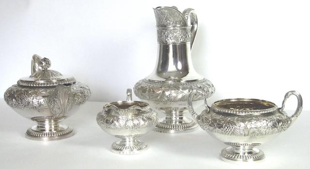 A George IV four piece silver tea service by Robert Gray and Son, Glasgow 1825  (4)