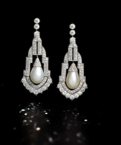 A pair of diamond-set natural pearl pendant Earrings circa 1920 (2)