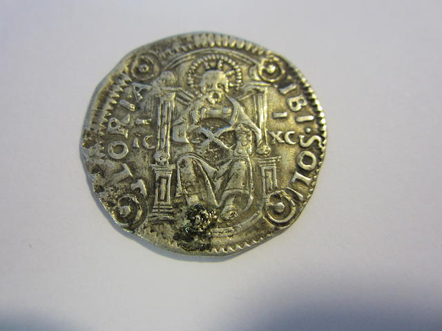 Cyprus, Venetian period. Agostino Barbarigo AD 1486-1501 AR.Marcello (3.15g) countermarked in Cyprus. Central countermarked X(ten Soldi), with four peripheral countermarks circle with dot in centre. Pitsillides 32.