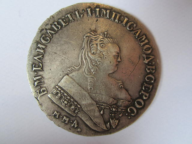 Russia, Rouble, 1750, crowned bust right,