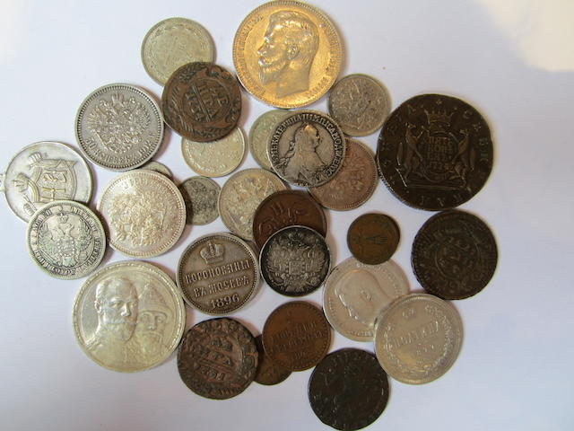 Russia, Rouble, 1911, 1913; Poltina, 1877; Fifty Kopeks, 1894, 1899, 1912; Twenty Kopeks, 1840, 1856, 1896; Five Kopek, 1779; Denga, 1731; together with other minor Russian issues.