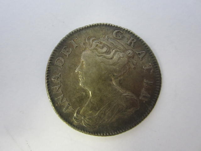 Anne, Shilling, 1705, second draped bust left,