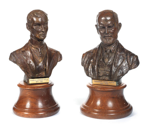 A Pair of Bronze Busts of Frederick Henry Royce and Charles Stewart Rolls,